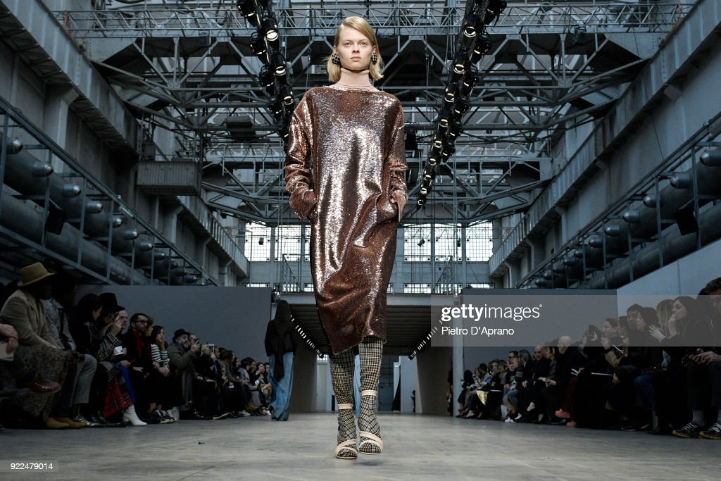 A model walks the runway at the Albino Teodoro show during Milan Fashion Week Fall/Winter 2018/19 on February 21, 2018 in Milan, Italy.