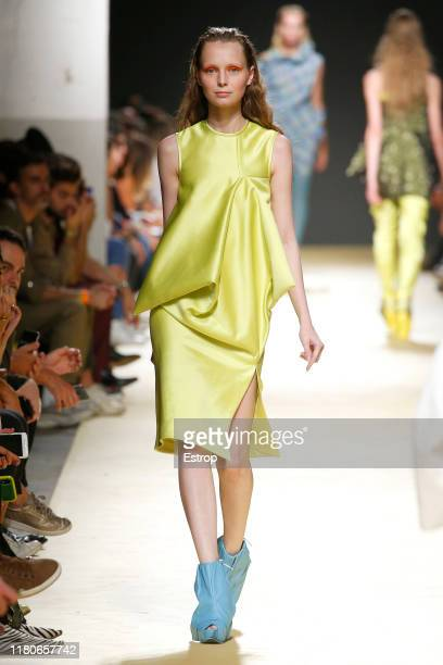 Model walks the runway at the Aleksandar Protic fashion show during Lisboa Fashion Week 'ModaLisboa' S/S 2020 on October 12 2019 in Lisboa, Portugal.