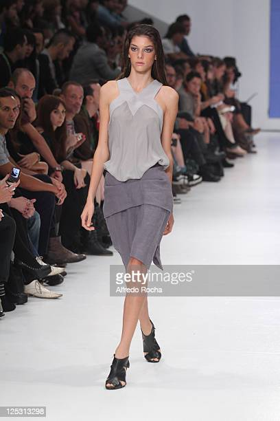 A model walks the runway at the Aleksandar Protic show at Lisbon Fashion Week Spring/Summer 2011 on October 9 2010 in Lisbon Portugal
