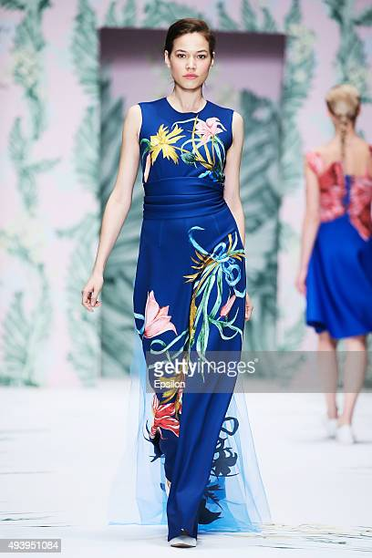 A model walks the runway at the Alena Akhmadullina for Barbie during day 3 of Mercedes Benz Fashion Week Russia SS16 at Manege on October 23 2015 in...