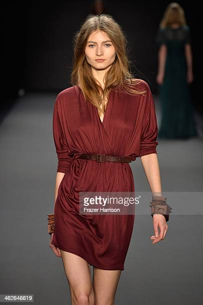 A model walks the runway at the Alena Akhmadullina presented by MercedesBenz and ELLE Backstage show during MercedesBenz Fashion Week Autumn/Winter...