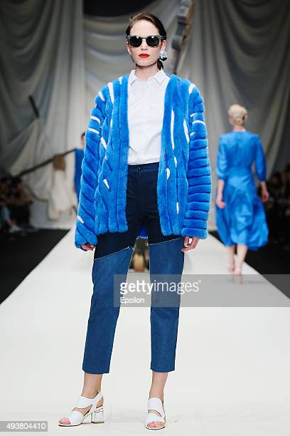 A model walks the runway at the Alena Akhmadullina show during day 2 of Mercedes Benz Fashion Week Russia SS16 at Manege on October 22 2015 in Moscow...