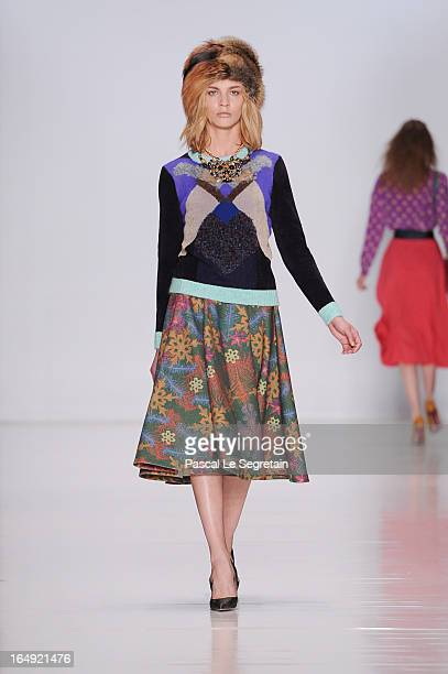 A model walks the runway at the Alena Akhmadullina show during MercedesBenz Fashion Week Russia Fall/Winter 2013/2014 at Manege on March 29 2013 in...