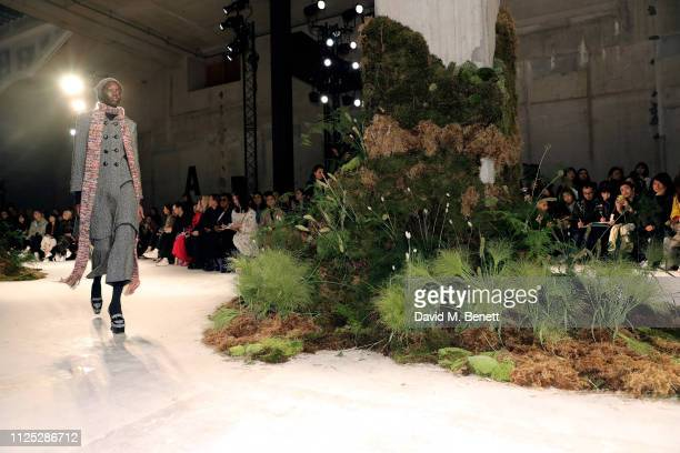 A model walks the runway at the ALEXACHUNG AW19 Show Production By Family Limited during London Fashion Week February 2019 at Universal Music on...