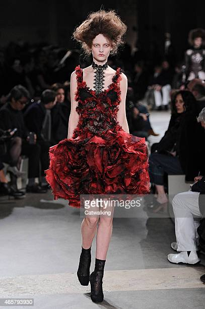Model walks the runway at the Alexander McQueen Autumn Winter 2015 fashion show during Paris Fashion Week on March 10, 2015 in Paris, France.