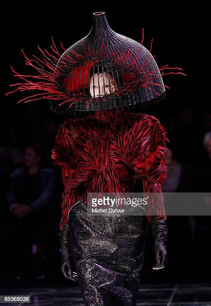 Model walks the runway at the Alexander McQueen Ready-to-Wear A/W 2009 fashion show during Paris Fashion Week at POPB on March 10, 2009 in Paris,...