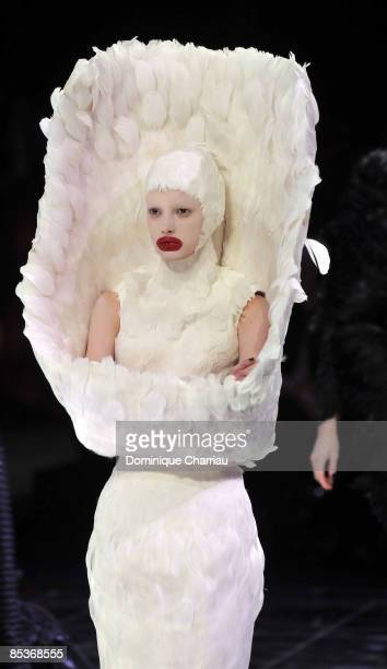 A model walks the runway at the Alexander McQueen ReadytoWear A/W 2009 fashion show during Paris Fashion Week at POPB on March 10 2009 in Paris France