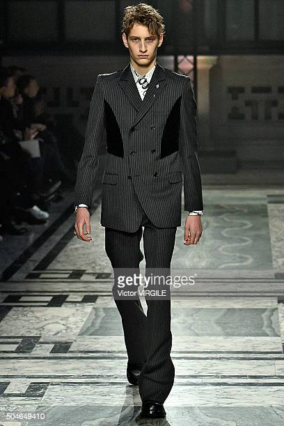 Model walks the runway at the Alexander McQueen show during The London Collections Men AW16 at The Foreign and Commwealth Office on January 10, 2016...
