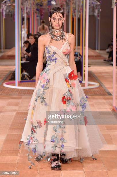 Model walks the runway at the Alexander McQueen Spring Summer 2018 fashion show during Paris Fashion Week on October 2, 2017 in Paris, France.
