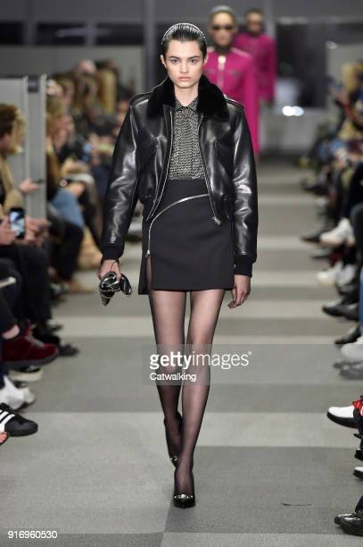 A model walks the runway at the Alexander Wang Autumn Winter 2018 fashion show during New York Fashion Week on February 10 2018 in New York United...