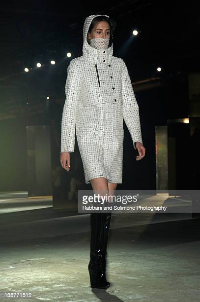 A model walks the runway at the Alexander Wang Fall 2012 fashion show during MercedesBenz Fashion Week at Pier 94 on February 11 2012 in New York City