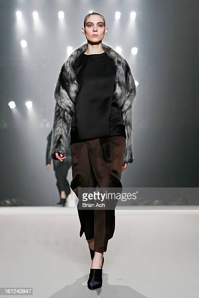 A model walks the runway at the Alexander Wang fall 2013 fashion show during MercedesBenz Fashion Week at The Cunard Building on February 9 2013 in...