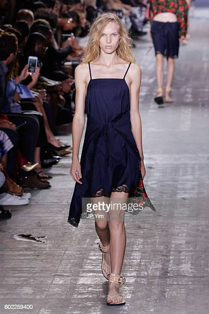 A model walks the runway at the Alexander Wang Spring 2017 fashion show during New York Fashion Week September 2016 at Pier 94 on September 10 2016...