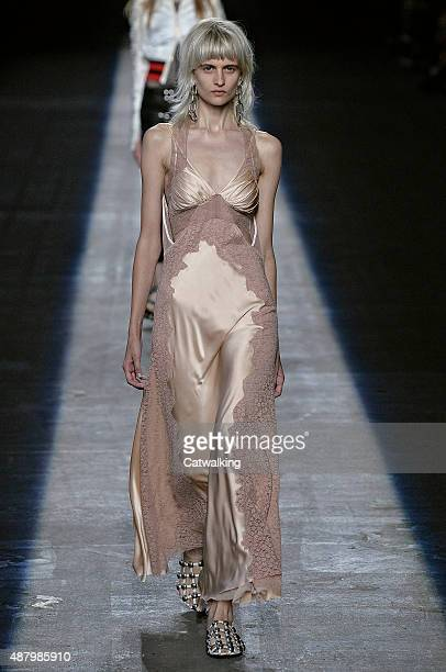 Model walks the runway at the Alexander Wang Spring Summer 2016 fashion show during New York Fashion Week on September 12, 2015 in New York, United...