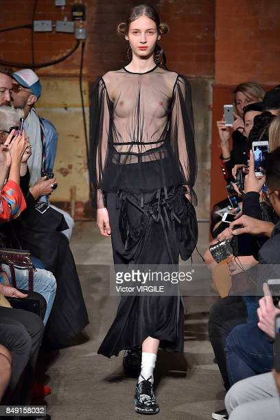 A model walks the runway at the Alexandra Moura Ready to Wear Spring/Summer 2018 fashion show during London Fashion Week September 2017 on September...