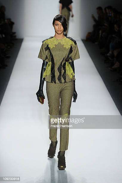 A model walks the runway at the Alexandre Herchcovitch Fall 2011 fashion show during MercedesBenz Fashion Week at The Studio at Lincoln Center on...