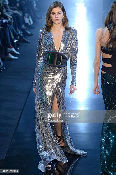 A model walks the runway at the Alexandre Vauthier Spring Summer 2015 fashion show during Paris Haute Couture Fashion Week on January 27 2015 in...