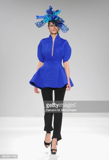 A model walks the runway at the Alexis Carballosa show during the London Fashion Week February 2017 collections on February 19 2017 in London England