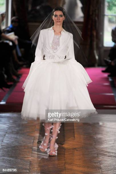 A model walks the runway at the Alexis Mabille fashion show during Paris Fashion Week Haute Couture Spring/Summer 2009 on January 26 2009 in Paris...