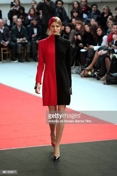 A model walks the runway at the Alexis Mabille HauteCouture show as part of the Paris Fashion Week Spring/Summer 2010 at Garage Turenne on January 25...
