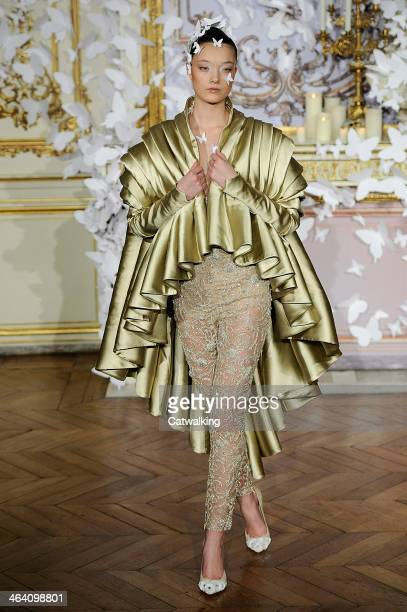 A model walks the runway at the Alexis Mabille Spring Summer 2014 fashion show during Paris Haute Couture Fashion Week on January 20 2014 in Paris...