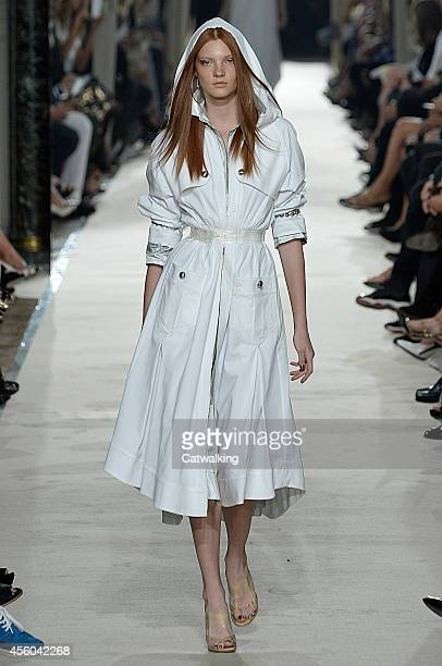 Model walks the runway at the Alexis Mabille Spring Summer 2015 fashion show during Paris Fashion Week on September 24, 2014 in Paris, France.