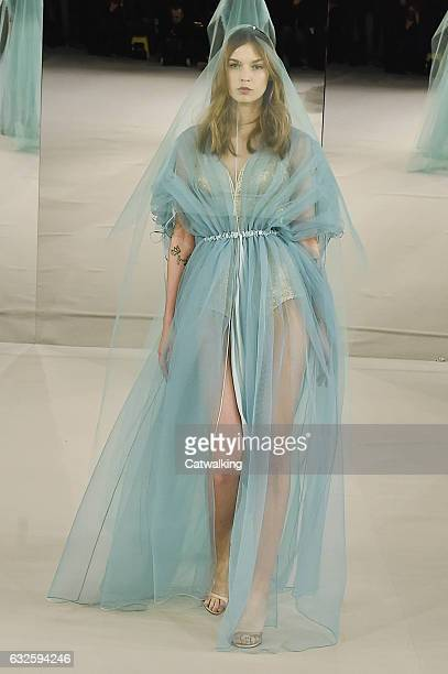 A model walks the runway at the Alexis Mabille Spring Summer 2017 fashion show during Paris Haute Couture Fashion Week on January 24 2017 in Paris...