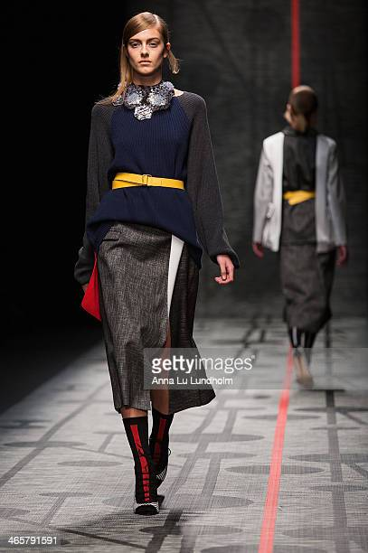 A model walks the runway at the AltewaiSaome show during MercedesBenz Stockholm Fashion Week AW14 on January 29 2014 in Stockholm Sweden