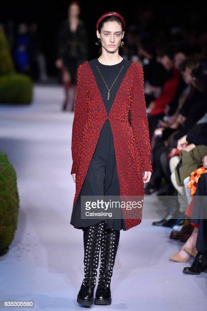 Model walks the runway at the Altuzarra Autumn Winter 2017 fashion show during New York Fashion Week on February 12, 2017 in New York, United States.
