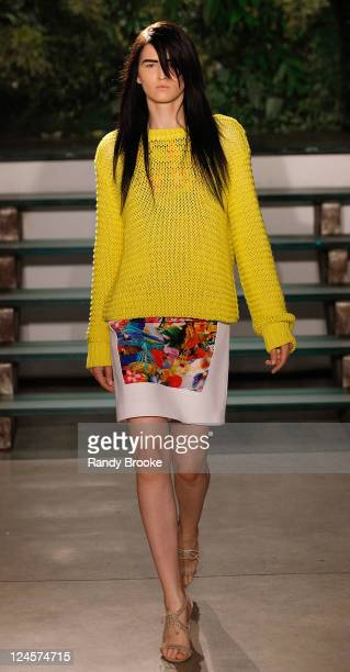 Model walks the runway at the Altuzarra fashion show during Mercedes-Benz Fashion Week Spring 2012 at Chelsea Art Museum on September 10, 2011 in New...