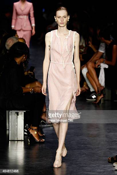 Model walks the runway at the Altuzarra fashion show during Mercedes-Benz Fashion Week Spring 2015 at Spring Studios on September 6, 2014 in New York...