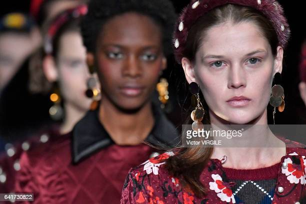 A model walks the runway at the Altuzarra fashion show during New York Fashion Week Fall Winter 20172018 on February 12 2017 in New York City