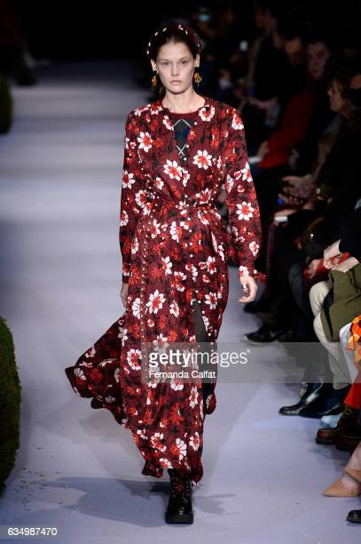 A model walks the runway at the Altuzarra February 2017 fashion show during New York Fashion Week on February 12 2017 in New York City
