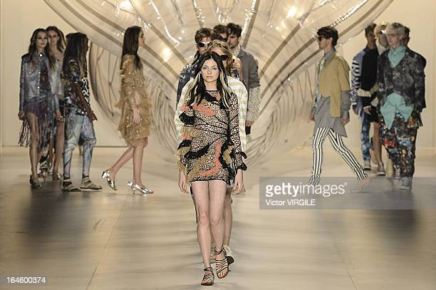 A model walks the runway at the Amapo show during the Sao Paulo Fashion Week Spring Summer 2013/2014 on March 21 2013 in Sao Paulo Brazil