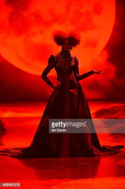 A model walks the runway at the Amato by Furne One show during Dubai Fashion Forward April 2015 at Madinat Jumeirah on April 12 2015 in Dubai United...