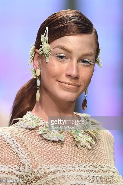 A model walks the runway at the Amato by Furne One show during Dubai Fashion Forward Spring/Summer 2016 at Madinat Jumeirah on October 24 2015 in...