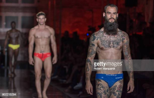 A model walks the runway at the Amoramargo show during the Barcelona 080 Fashion Week on June 27 2017 in Barcelona Spain