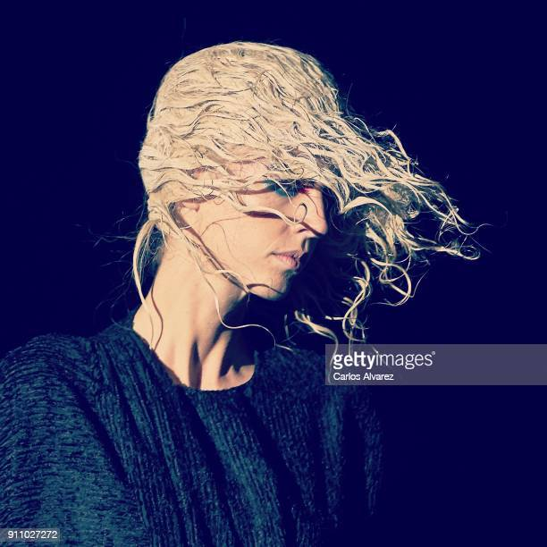 Model walks the runway at the Ana Locking fashion show during the Mercedes Benz Fashion Week Autumn/Winter 2018 at Ifema on January 26 2018 in Madrid...