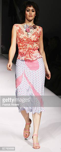 Model walks the runway at the Andrea Cainero collection presentation part of the Sydney Tafe Fashion Design Studio at the Overseas Passenger Terminal...