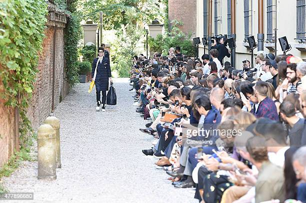 A model walks the runway at the Andrea Pompilio Spring Summer 2016 fashion show during Milan Menswear Fashion Week on June 20 2015 in Milan Italy