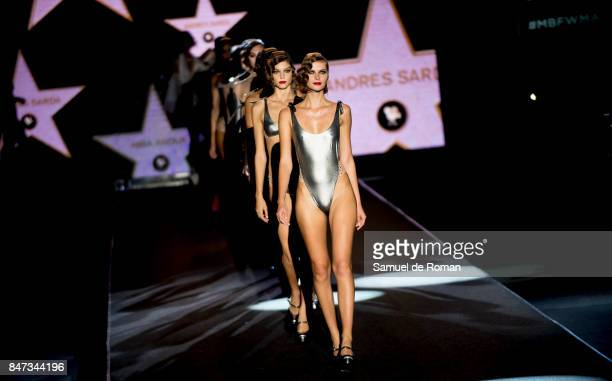 A model walks the runway at the Andres Sarda show during the MercedesBenz Fashion Week Madrid Spring/Summer 2018 at Ifema on September 15 2017 in...