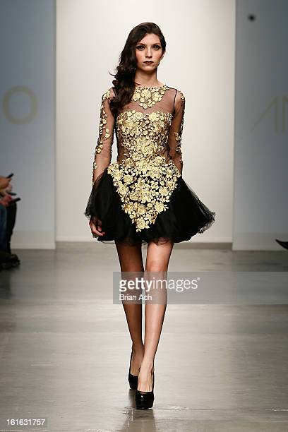 A model walks the runway at the Andressa Leao show during Nolcha Fashion Week New York 2013 presented by RUSK at Pier 59 Studios on February 13 2013...