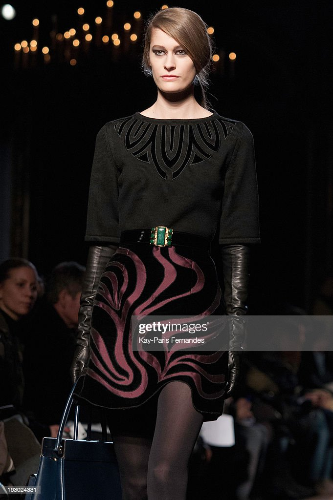 A model walks the runway at the Andrew Gn Fall/Winter 2013 Ready-to-Wear show as part of Paris Fashion Week at the Hotel Westin on March 3, 2013 in Paris, France.