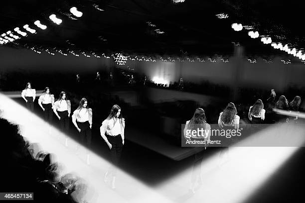 A model walks the runway at the Andrew GN show as part of Paris Fashion Week Womenswear Fall/Winter 2015/2016 on March 6 2015 in Paris France