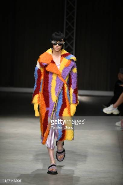 A model walks the runway at the Angel Chen show at Milan Fashion Week Autumn/Winter 2019/20 on February 24 2019 in Milan Italy