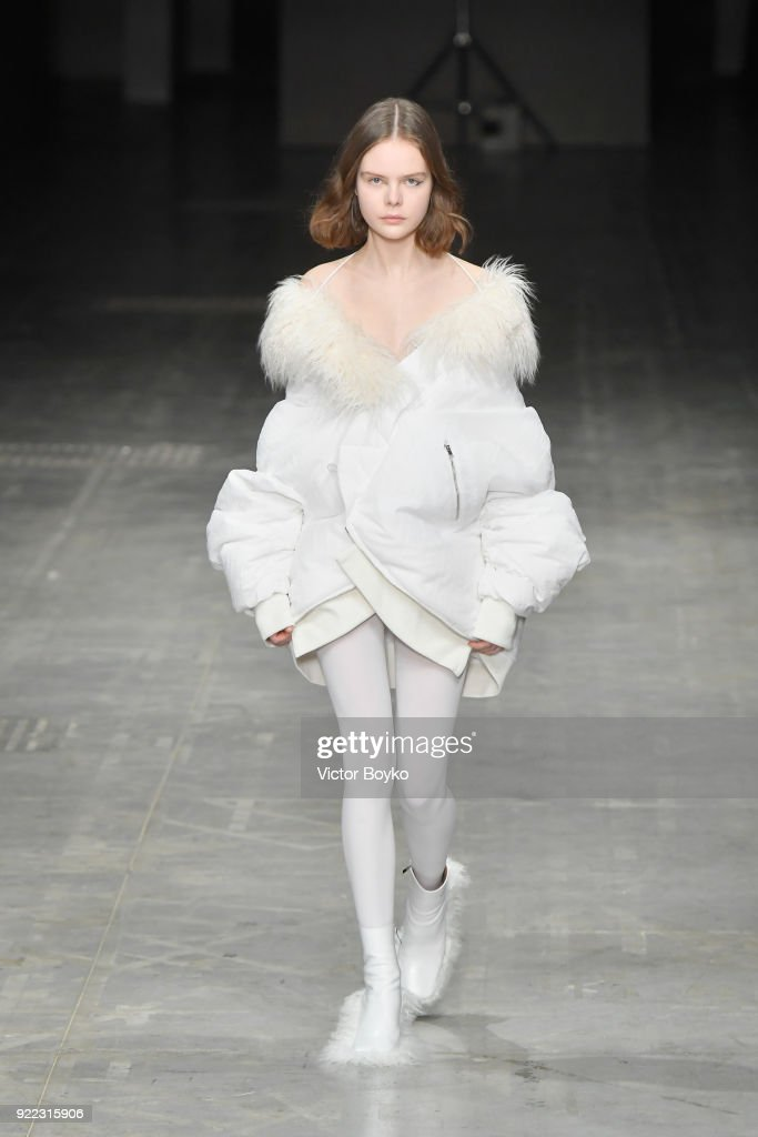 A model walks the runway at the Angel Chen show during Milan Fashion Week Fall/Winter 2018/19 on February 21, 2018 in Milan, Italy.