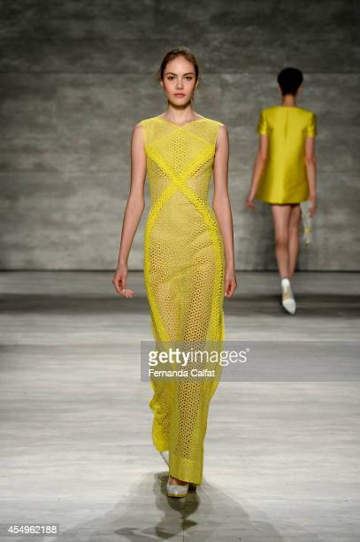 Model walks the runway at the Angel Sanchez fashion show during Mercedes-Benz Fashion Week Spring 2015 at The Pavilion at Lincoln Center on September...