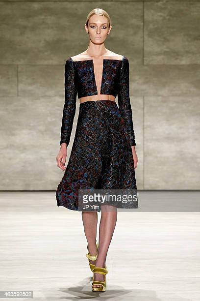 A model walks the runway at the Angel Sanchez fashion show during MercedesBenz Fashion Week Fall 2015 at The Pavilion at Lincoln Center on February...