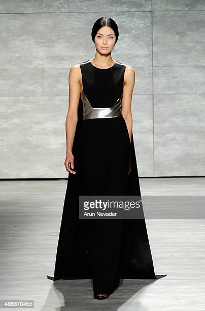 Model walks the runway at the Angel Sanchez fashion show during Mercedes-Benz Fashion Week Fall 2014 at The Pavilion at Lincoln Center on February...