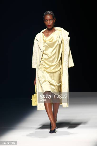 Model walks the runway at the Angel Schlesser fashion show during Mercedes Benz Fashion Week Madrid Spring/Summer 2021 at Ifema on September 11, 2020...